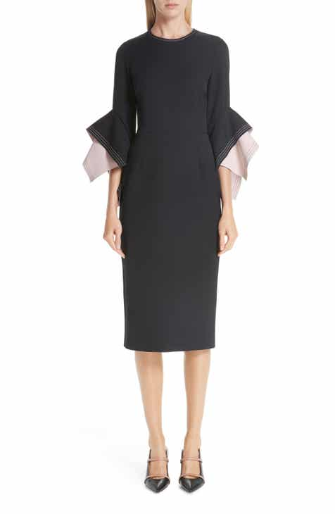 4597f89be97c Roksanda Bicolor Flutter Sleeve Crepe Sheath Dress