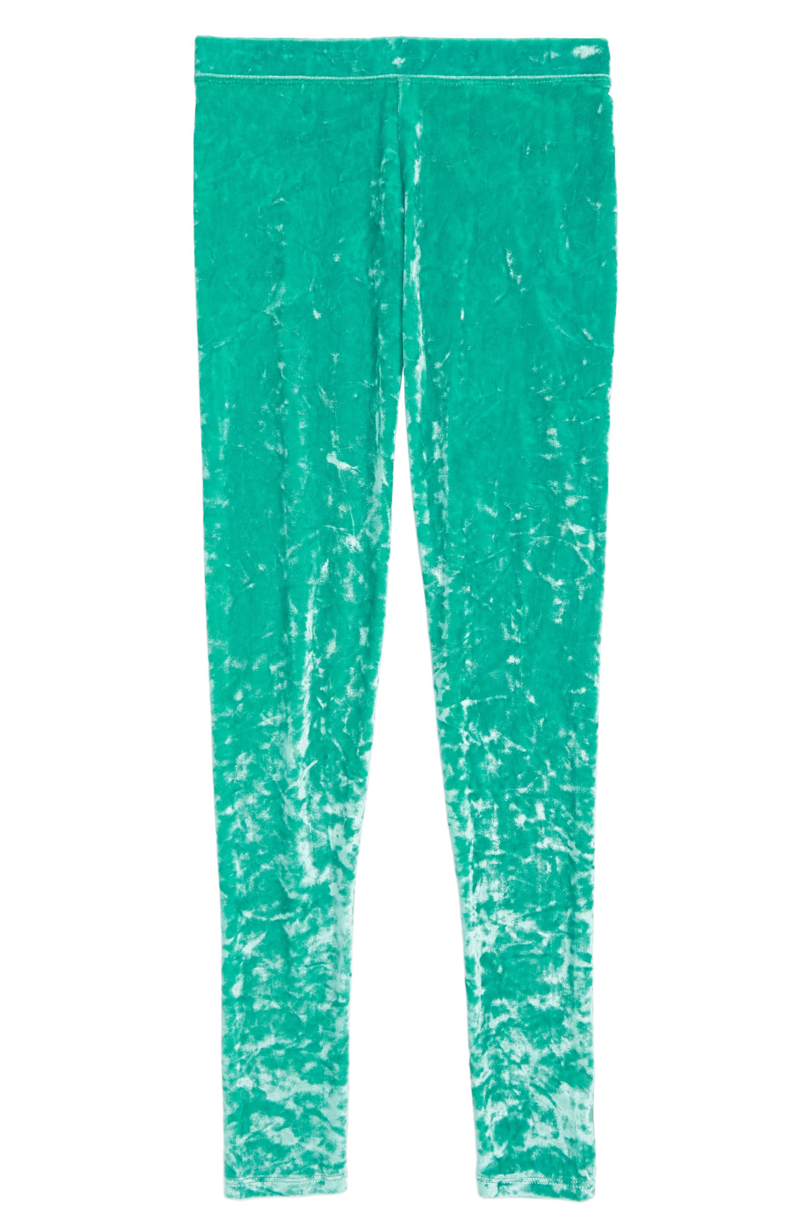 Crushed Velvet Leggings,                         Main,                         color, Emerald Green