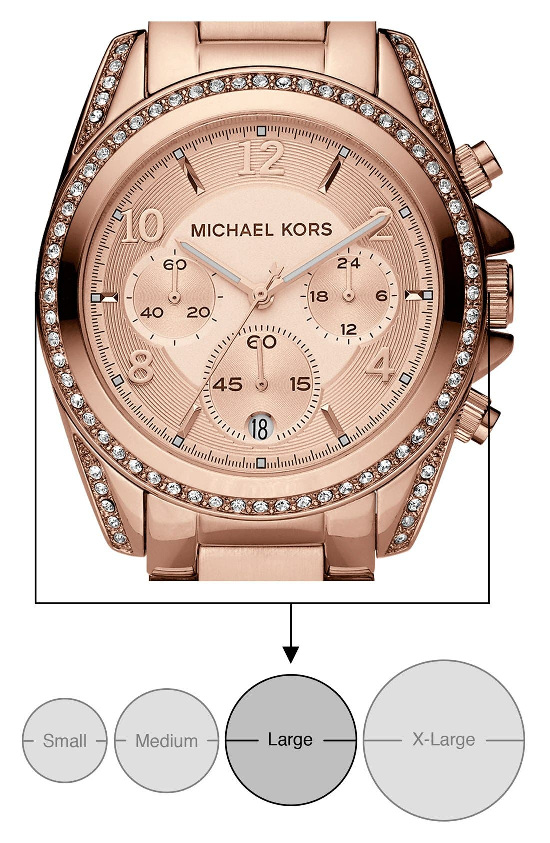 Michael Kors 'Blair' Chronograph Watch, 39mm,                             Alternate thumbnail 7, color,                             Rose Gold