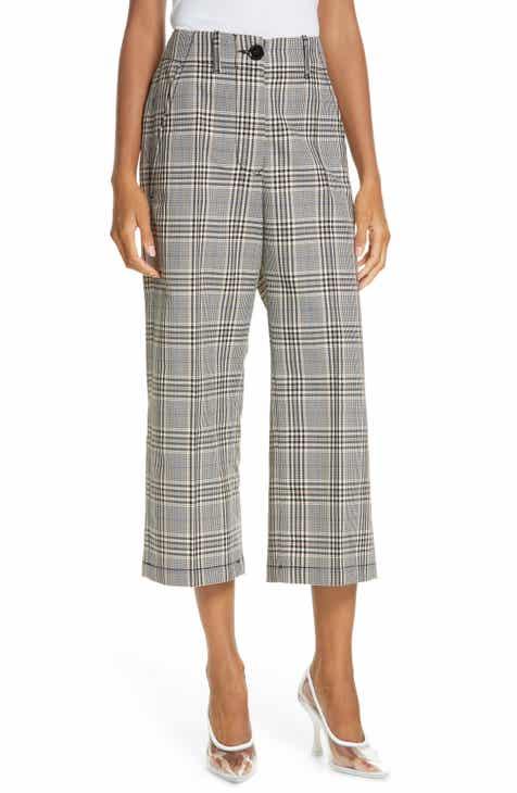5a4dcbc70 MM6 Maison Margiela Plaid Wool Blend Wide Leg Crop Pants