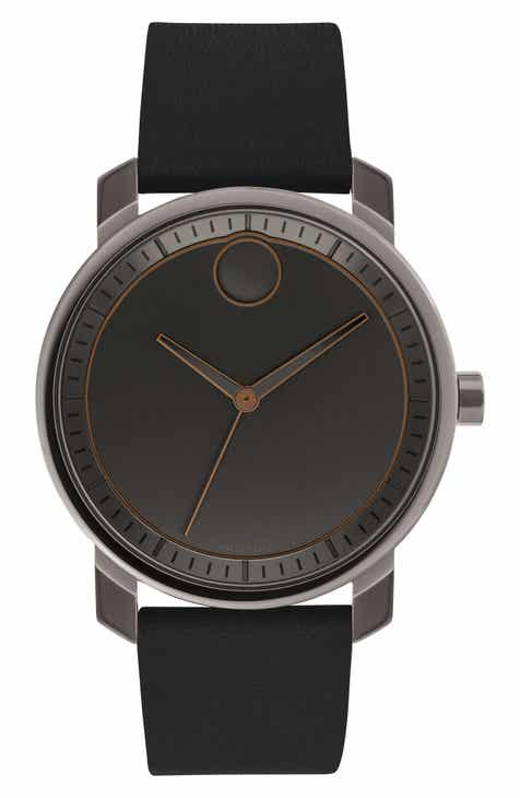3fd05c9dabb Movado Bold Leather Strap Watch