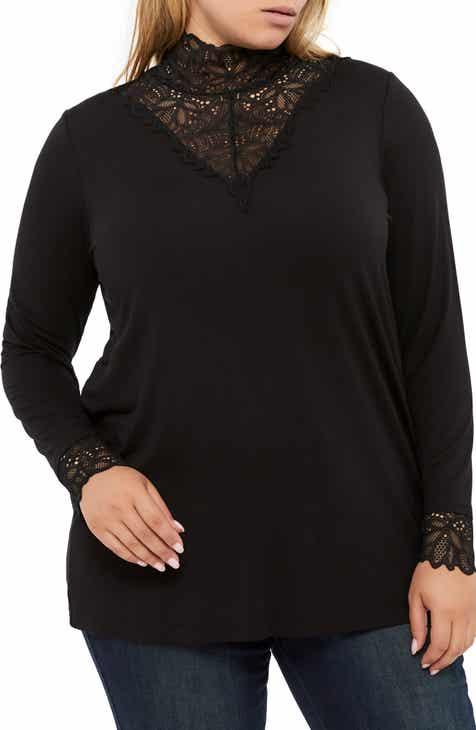 53898266fbf Michel Studio Lace Detail Knit Top (Plus Size)
