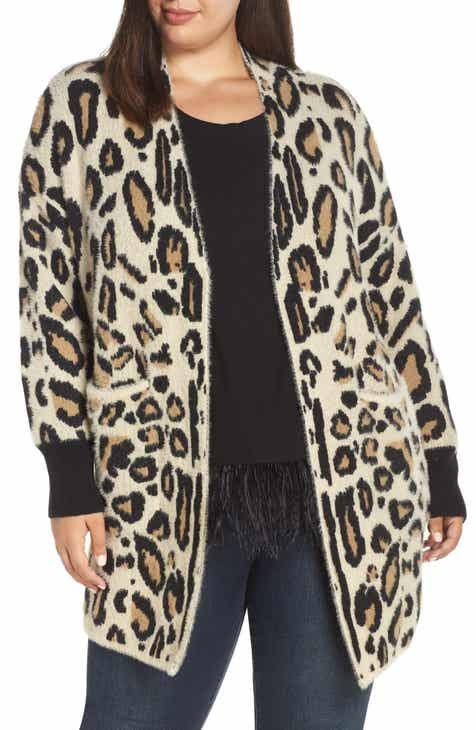 Vince Camuto Cheetah Print Long Cardigan (Plus Size) by VINCE CAMUTO