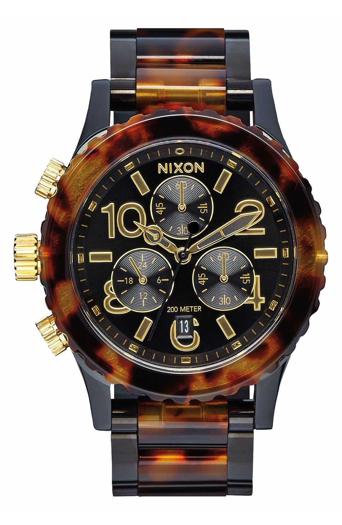 'The 38-20' Extra Large Chronograph Bracelet Watch, 38mm,                         Main,                         color, Tortoise/ Black
