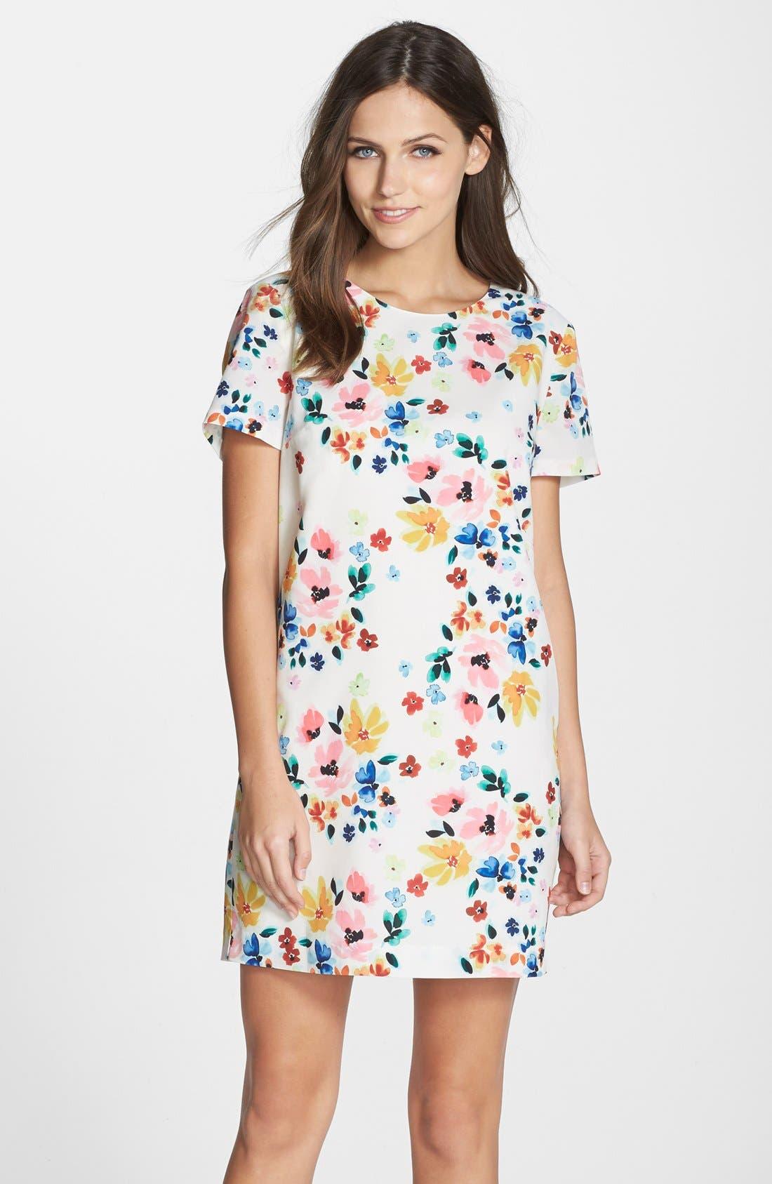 by Cynthia Steffe 'Kayte' Floral Print Shift Dress,                             Main thumbnail 1, color,                             Light Cream
