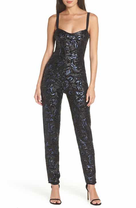 f81b90016bf6 Dress the Population Chloe Sequin Brocade Jumpsuit