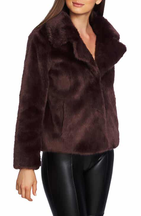 1.STATE Crop Faux Fur Jacket