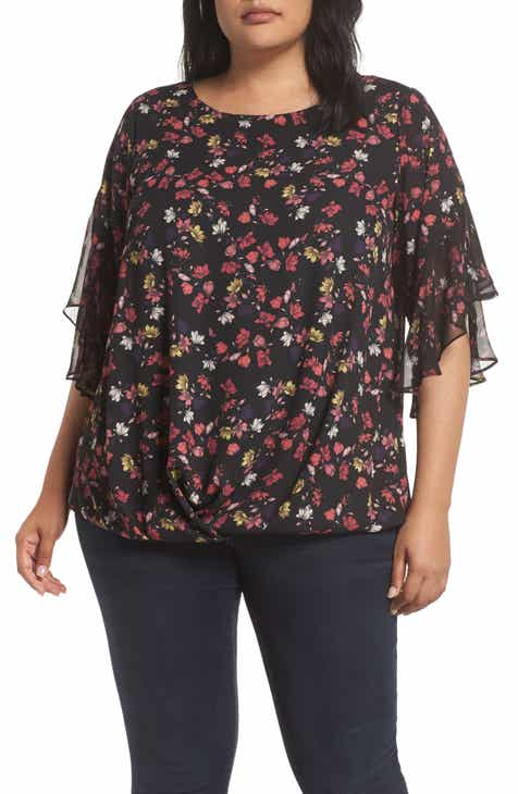 69200aadd83 Vince Camuto Etched Ditsy Ruffle Top (Plus Size)