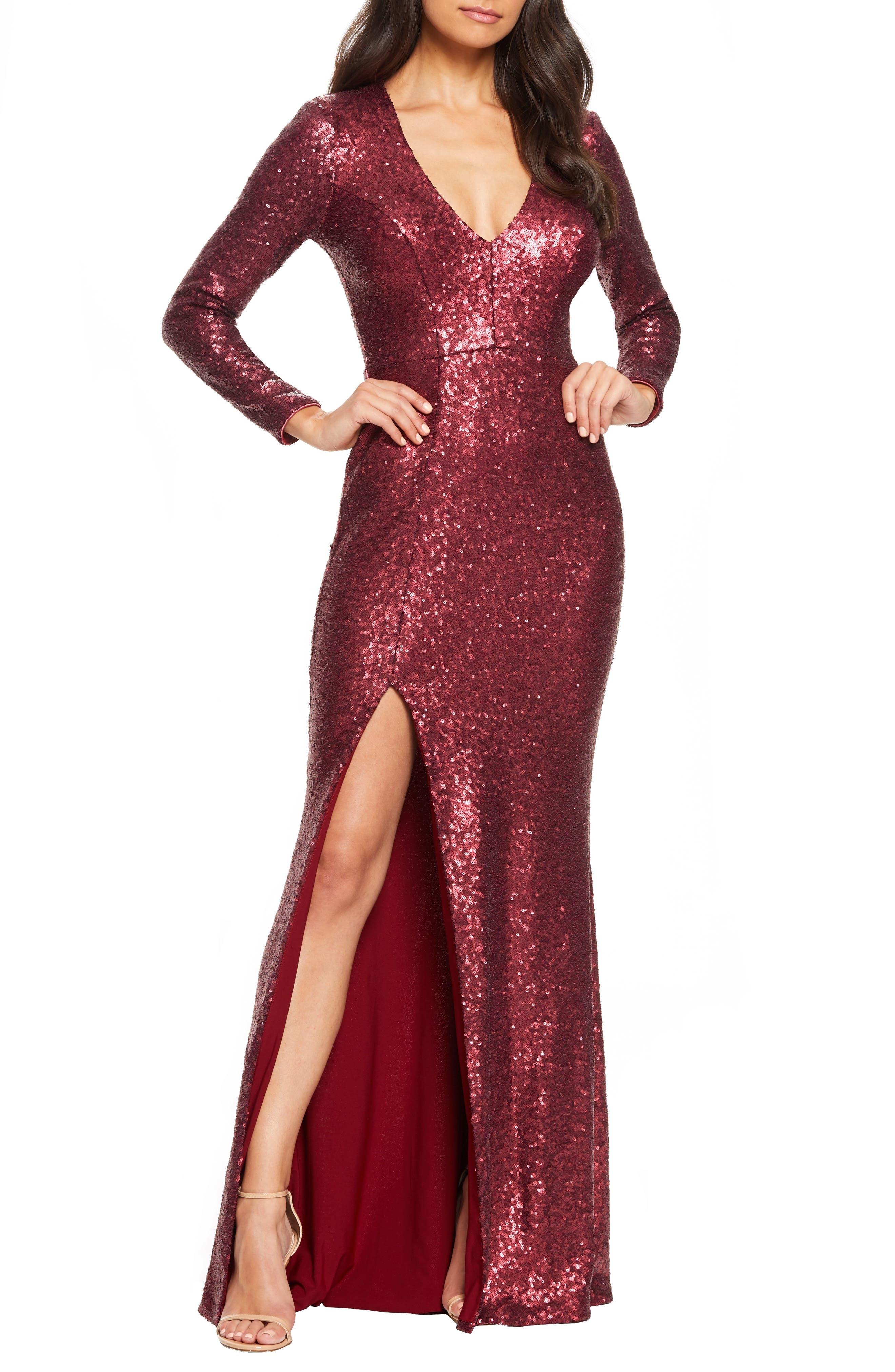 Nylon Long Sleeve Short Dresses