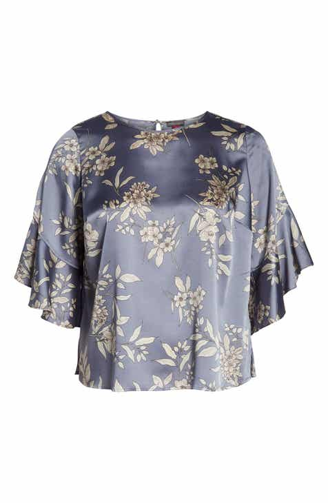 3e6ac061d69fe Vince Camuto Ruffle Sleeve Bouquet Top (Plus Size)
