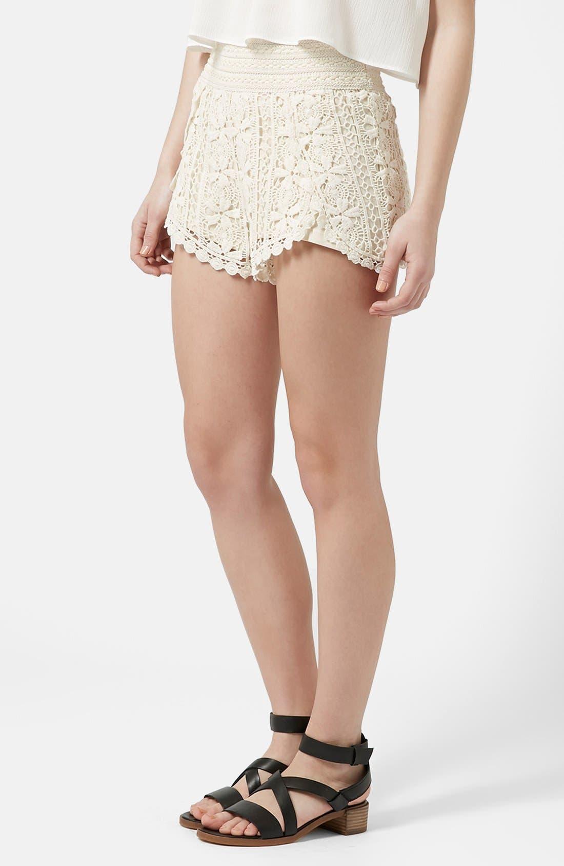 Alternate Image 1 Selected - Topshop Scallop Crochet Shorts (Regular & Petite)