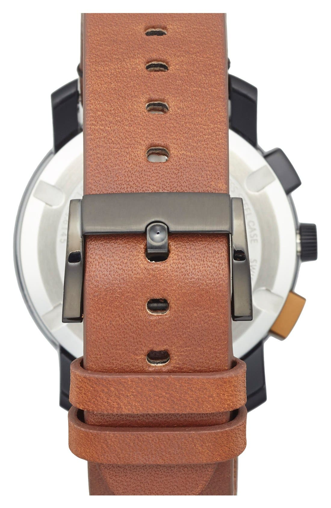 'Bold' Chronograph Leather Strap Watch, 44mm,                             Alternate thumbnail 2, color,                             Brown/ Black