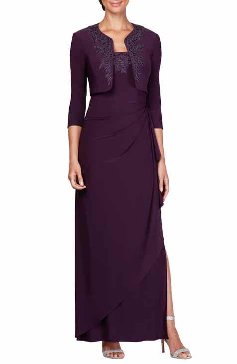 dc14380fc52 Alex Evenings Side Ruched Evening Dress with Bolero (Regular   Petite)