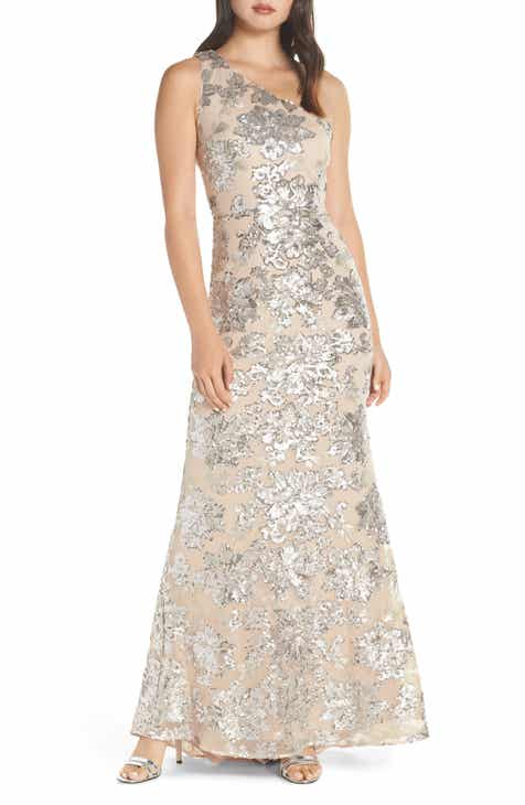 292992ff6c Vince Camuto One-Shoulder Sequin Chiffon Evening Dress