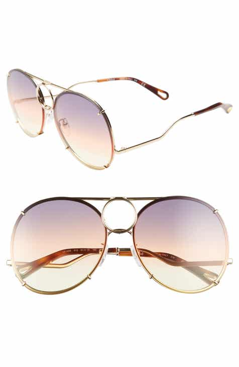 56f52c78189 Chloé Vicky 61mm Round Aviator Sunglasses