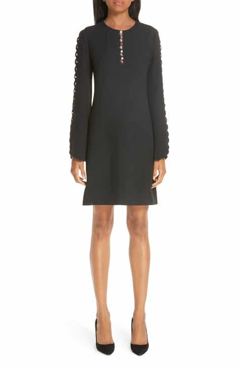 Michael Kors Scallop Button Detail Double Crepe Sable Shift Dress by MICHAEL KORS