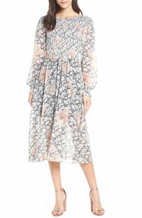 Avec Les Filles Floral Print Smocked Dress