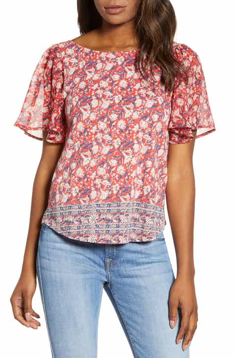 ed71790111 Lucky Brand Flutter Sleeve Mixed Media Top