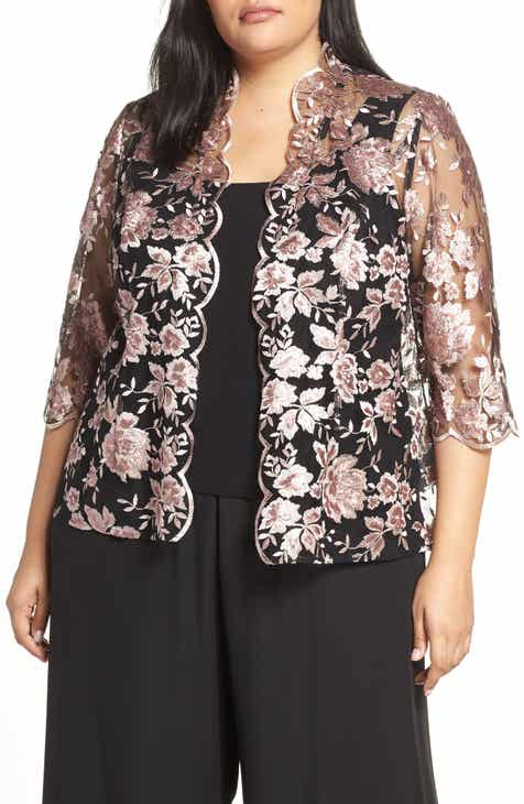 0fbc79ff0de21 Alex Evenings Scallop Embroidered Twinset (Plus Size)