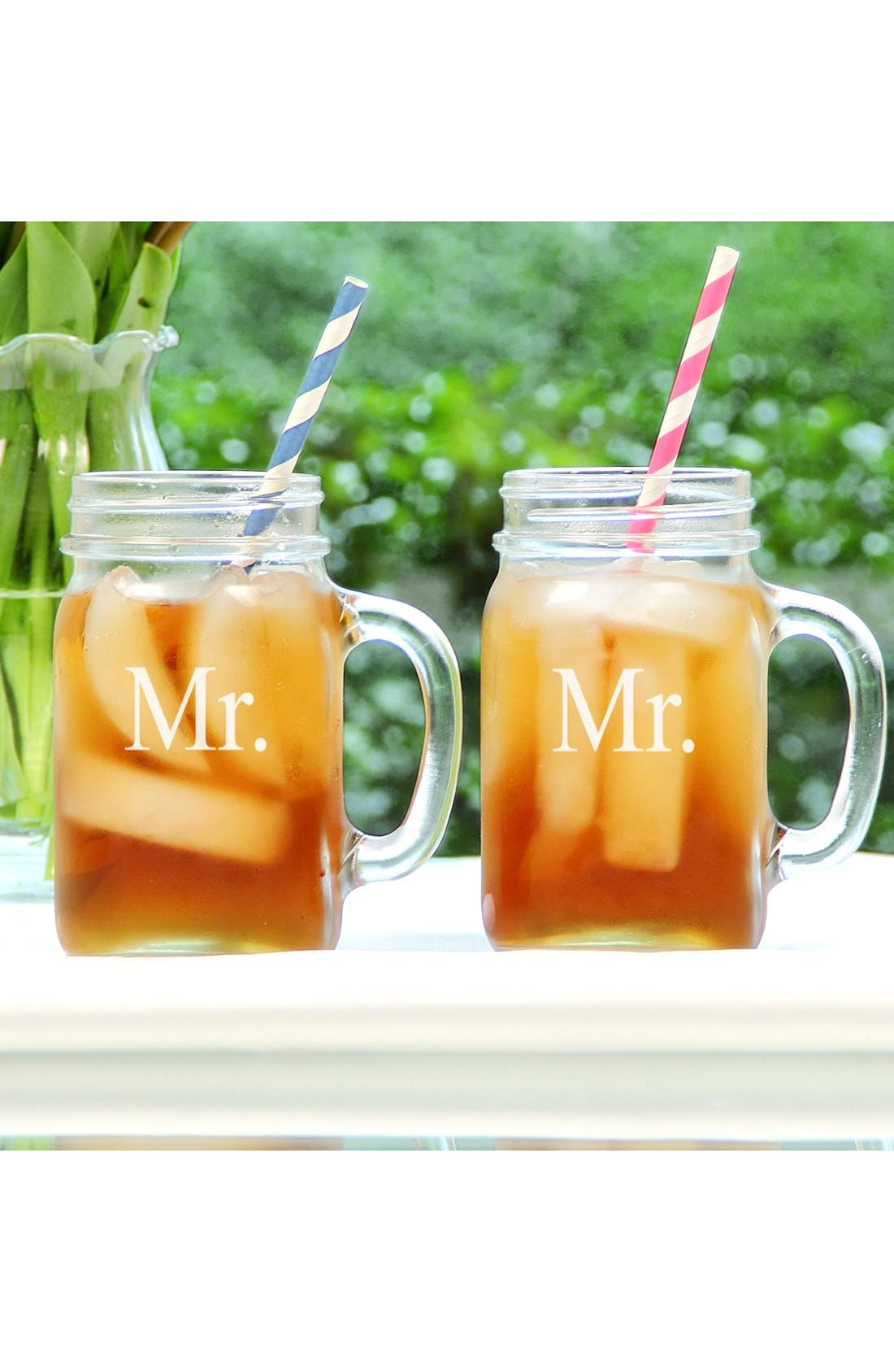 'For The Couple' Mason Jar Glasses with Handles,                             Main thumbnail 1, color,                             Mr/ Mr