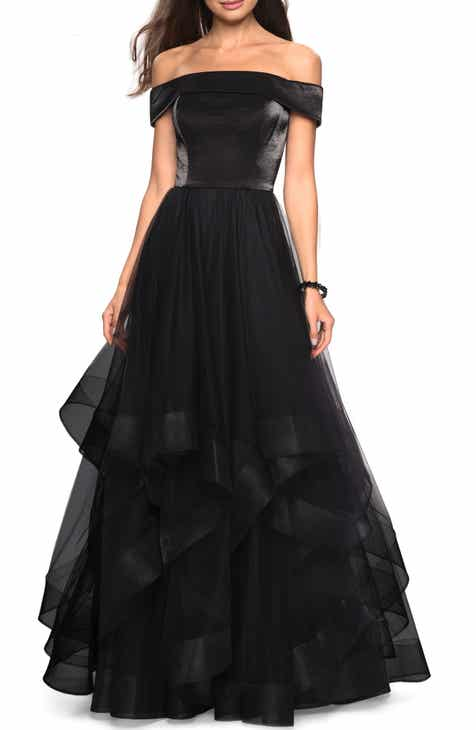 6c2a0438db9 La Femme Off the Shoulder Evening Dress