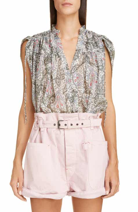 c1e148c2707e26 Isabel Marant Ruched Shoulder Silk Blouse