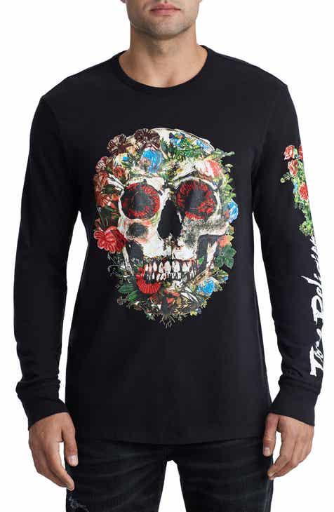 869b3eaa6ab163 True Religion Brand Jeans Skull Bloom Graphic T-Shirt
