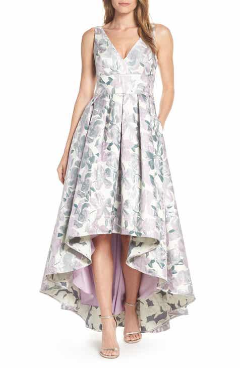 Eliza J Floral Jacquard High Low Evening Dress df112a0fb