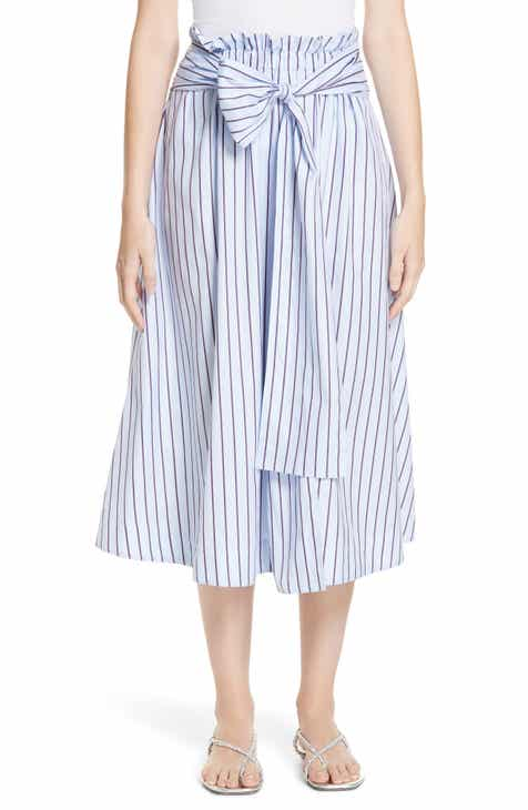 Rosetta Getty Wrap Panel Stripe Poplin Skirt by Rosetta Getty