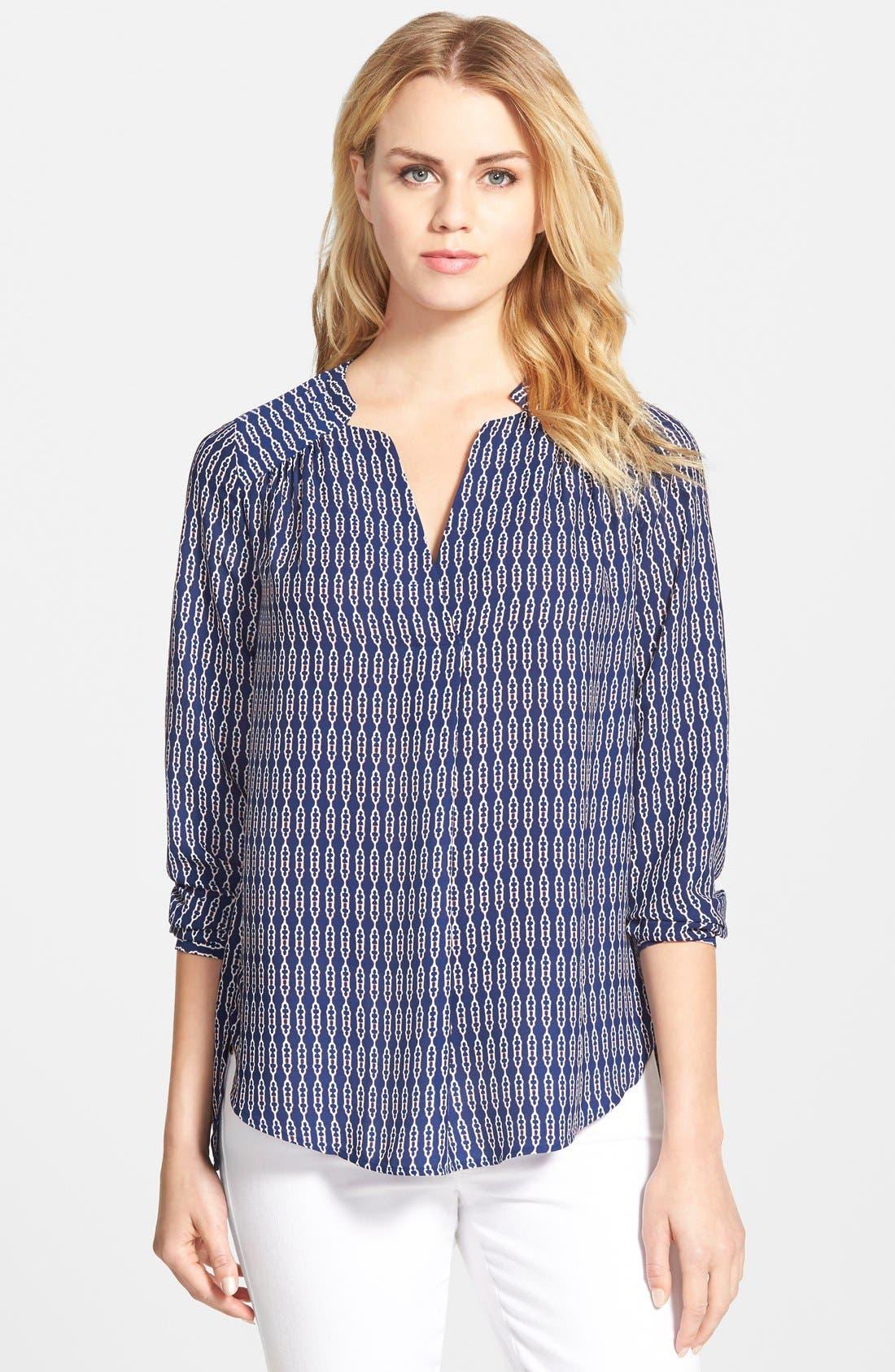 Shirred Shoulder Blouse,                         Main,                         color, Navy Abstract Rope