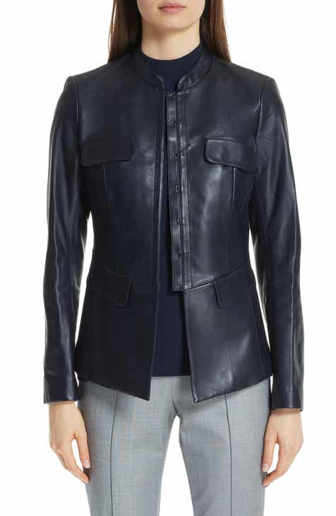 St. John Collection Leather Shirt Jacket by ST. JOHN COLLECTION