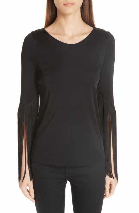 Galvan Vesper Fringe Sleeve Stretch Jersey Top