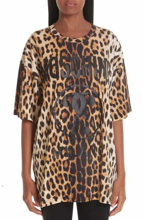1a45fff6ebffb4 Moschino Leopard   Logo Print Oversize Tee