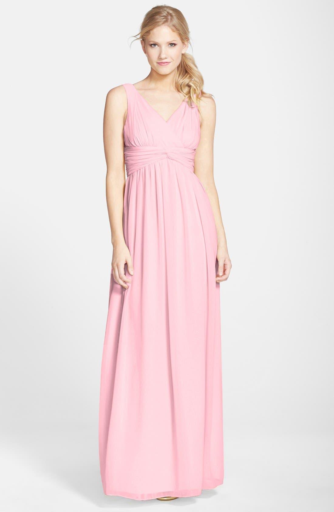 Alternate Image 1 Selected - Donna Morgan 'Julie' Twist-Waist Silk Chiffon Gown