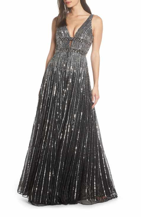 Mac Duggal Deep V-Neck Sequin Stripe Gown 1716c2b59
