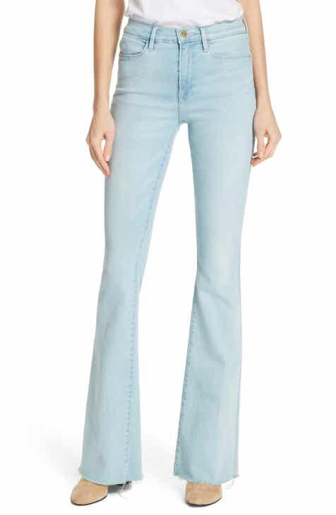 f36640475b0 FRAME High Waist Raw Hem Flare Jeans (Creedence)