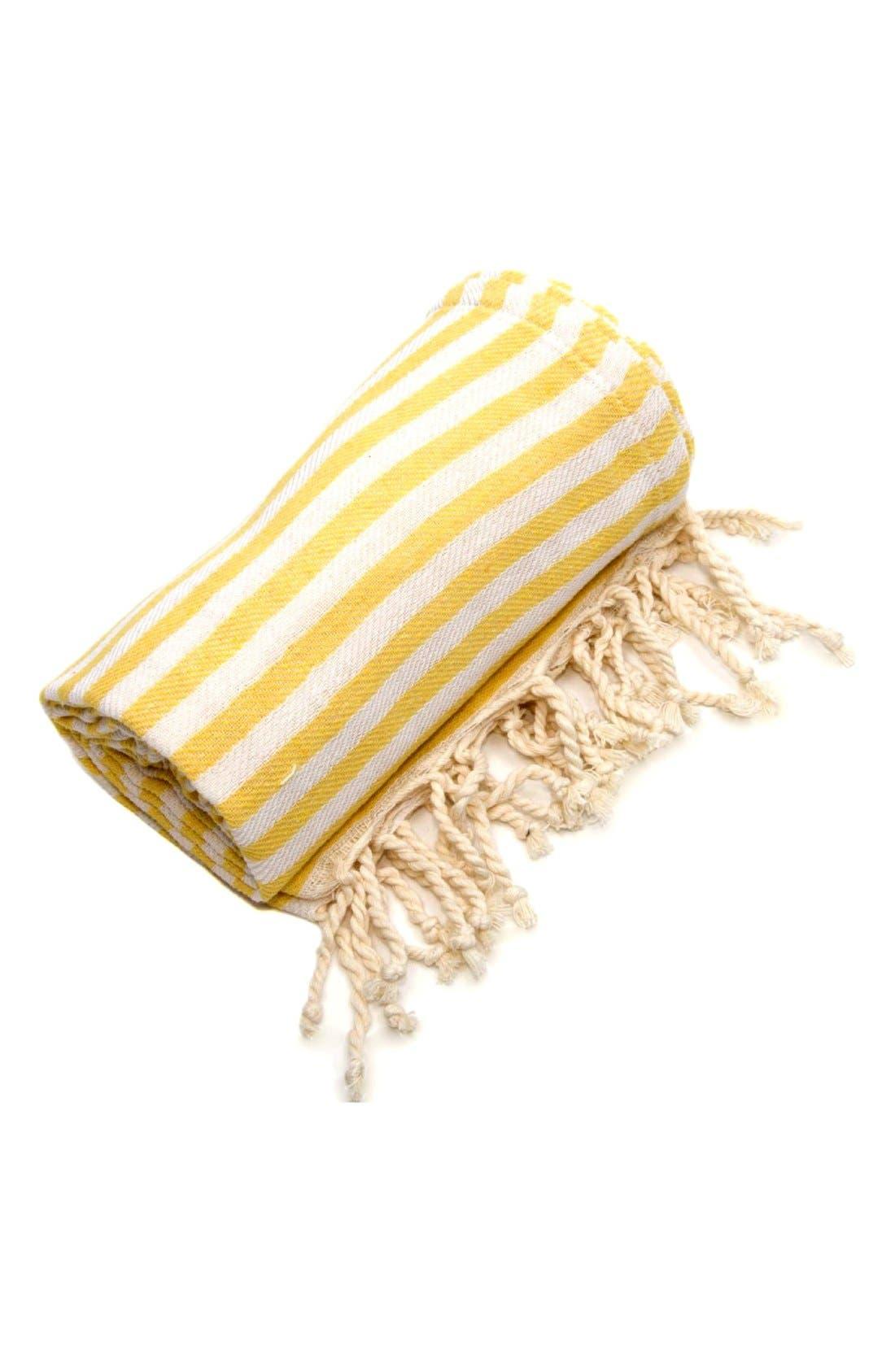'Fun in the Sun' Turkish Pestemal Towel,                             Alternate thumbnail 2, color,                             Sunshine Yellow