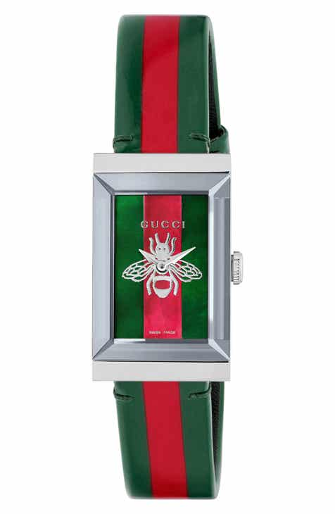 87397e00dbf Gucci G-Frame Square Leather Strap Watch