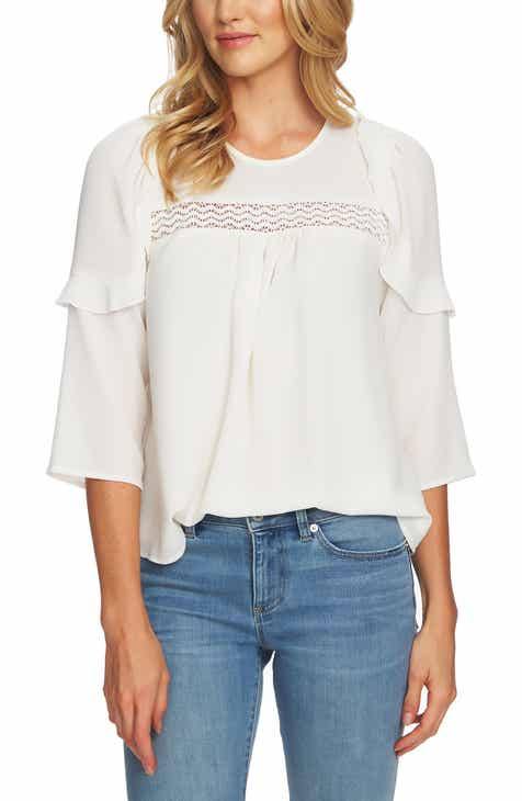 CeCe Lace Inset Blouse.  79.00. Product Image. PEARL IVORY bf639129f