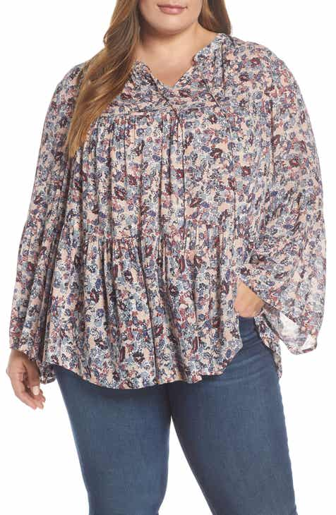 0b637cdc831753 Lucky Brand Ditsy Floral Print Top (Plus Size)