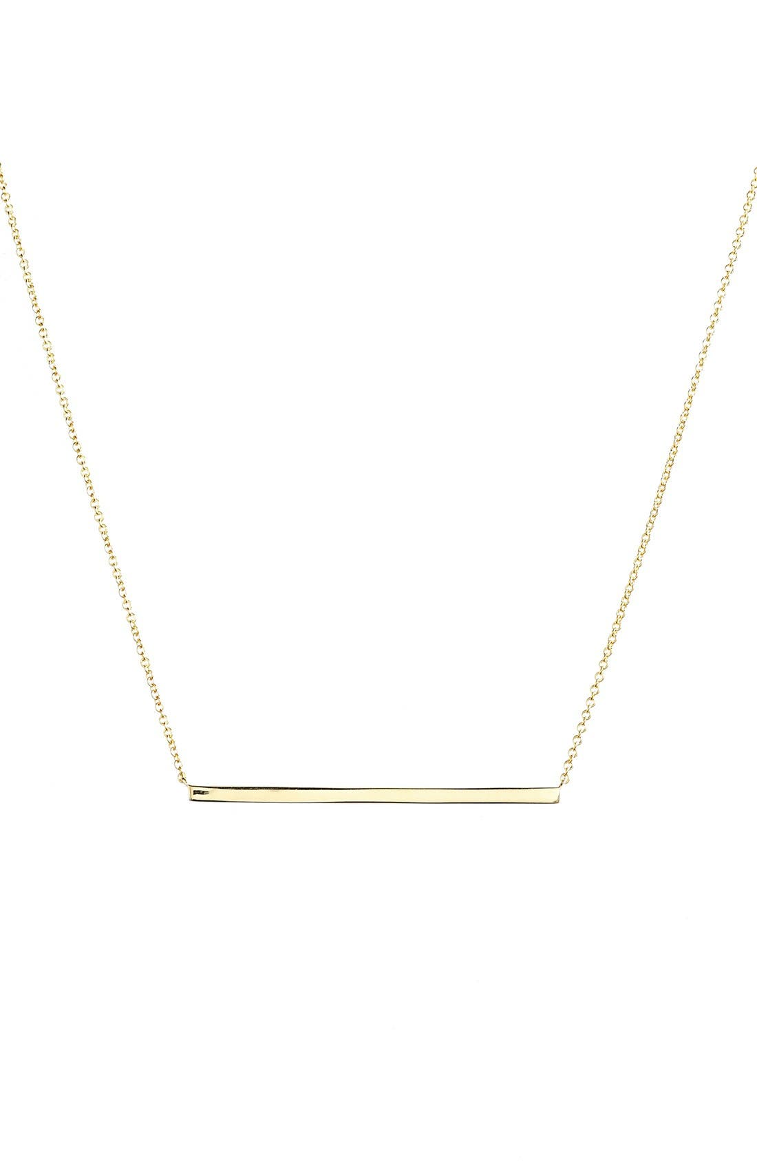 14k Gold Bar Pendant Necklace,                             Main thumbnail 1, color,                             Yellow Gold