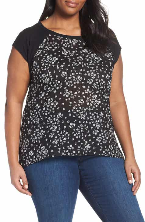 5467e5021e3 Vince Camuto Scattered Floral Tee (Plus Size)