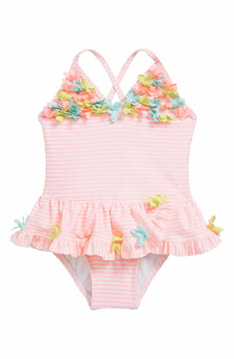 90467f80db Little Me Flower Appliqué Skirted One-Piece Swimsuit (Baby)