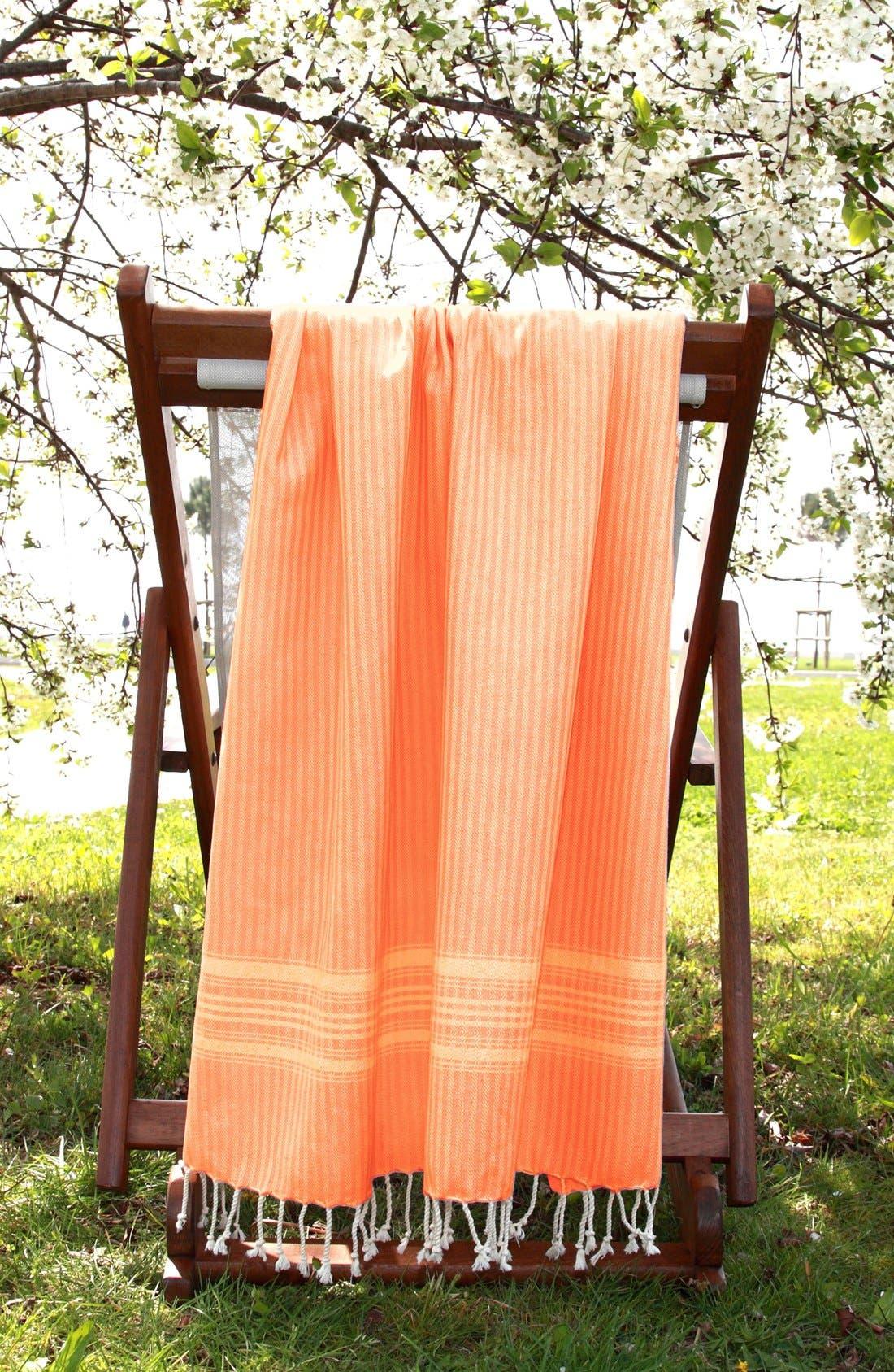 'Luxe Herringbone' Turkish Pestemal Towel,                         Main,                         color, Orange