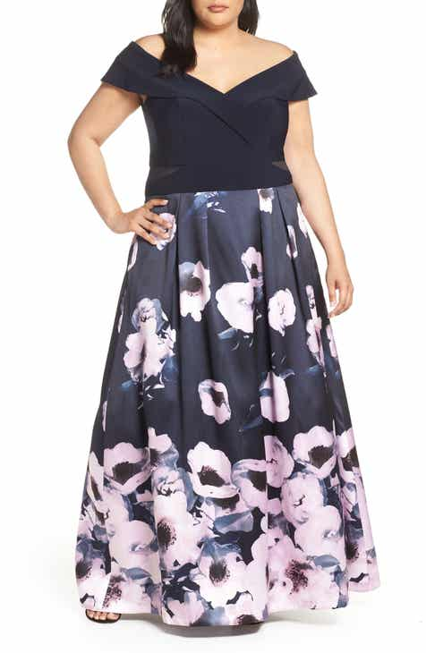 2bf0adb9 Xscape Mesh Inset Floral Evening Gown (Plus Size)
