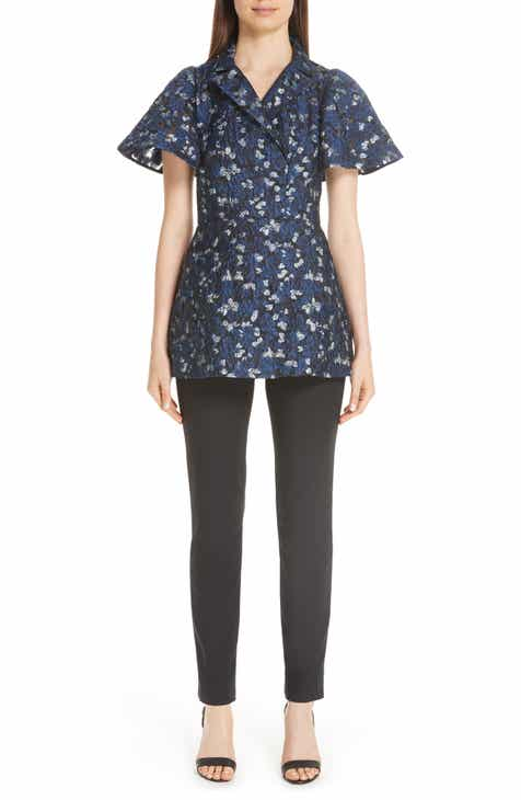 Lela Rose Metallic Floral Fil Coupé Flutter Sleeve Blouse
