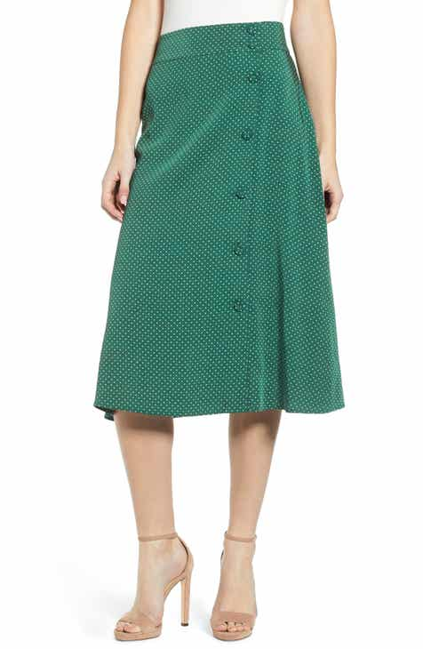 Vince Marine Garden Pleated Midi Skirt by VINCE