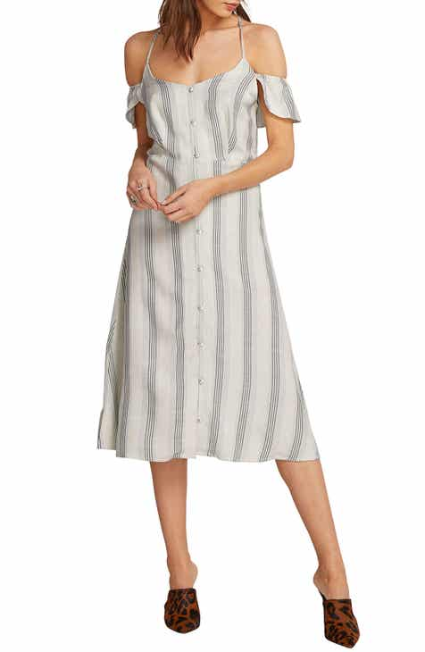 Volcom Winding Roads Cold Shoulder Midi Dress