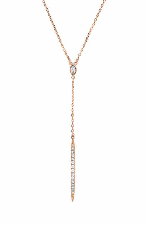 ADORE Pav? Crystal Bar Y-Necklace