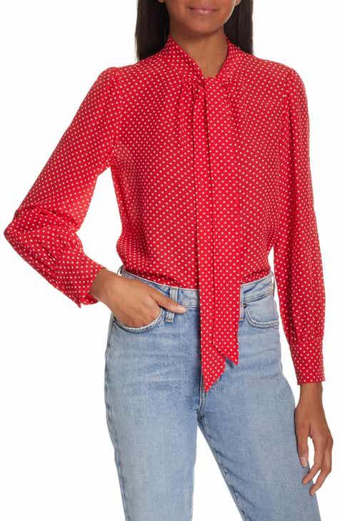 50215a3cd6a60 Rebecca Taylor Dot Print Scarf Tie Silk Blouse